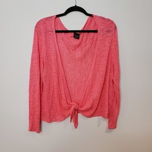 Faded Glory Pink Light Weight Tie Front Cardigan